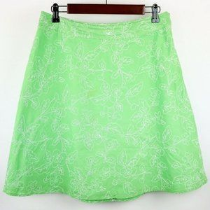 TALBOTS LIME GREEN & WHITE FLORAL A-LINE SKIRT